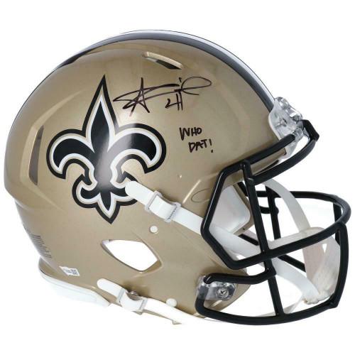 "ALVIN KAMARA Autographed ""Who Dat"" New Orleans Saints Authentic Speed Helmet FANATICS"