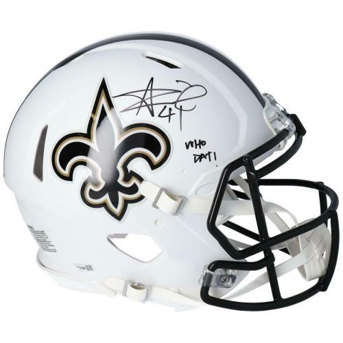 """ALVIN KAMARA Autographed New Orleans Saints """"Who Dat"""" White Matte Authentic Speed Helmet FANATICS"""