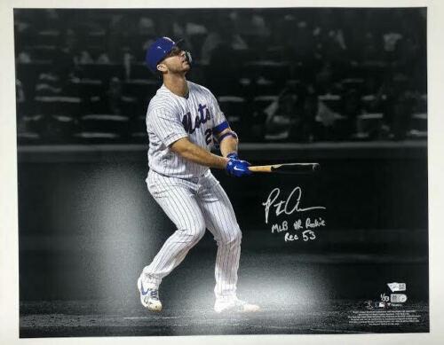 "PETE ALONSO Autographed New York Mets ""MLB HR Rookie Rec 53"" 16x20 Photograph FANATICS LE 1/53"