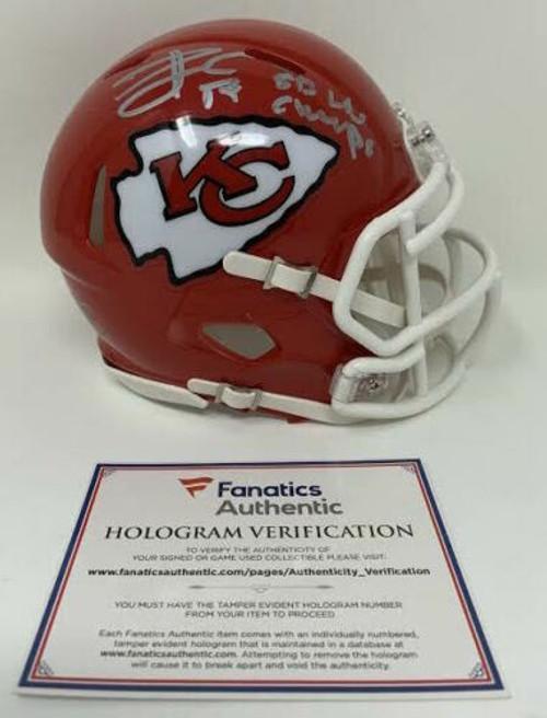"TRAVIS KELCE Autographed Kansas City Chiefs ""SB LIV Champs"" Mini Speed Helmet FANATICS"