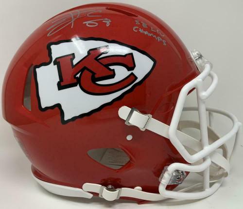 "TRAVIS KELCE Autographed ""SB LIV Champs"" Kansas City Chiefs Authentic Speed Helmet FANATICS"