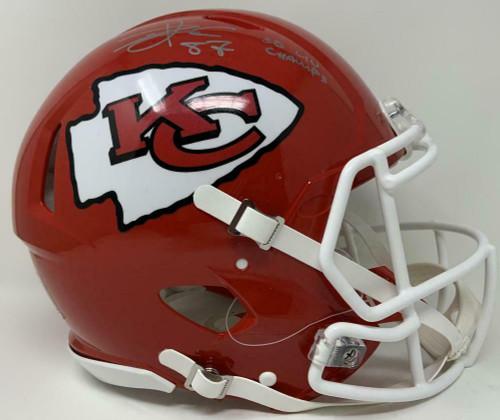 "TRAVIS KELCE Autographed Kansas City Chiefs ""SB LIV Champ"" Full Size Speed Helmet FANATICS"