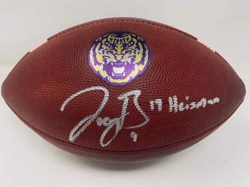 """JOE BURROW Autographed LSU Tigers """"19 Heisman"""" Nike Game Model Football FANATICS"""