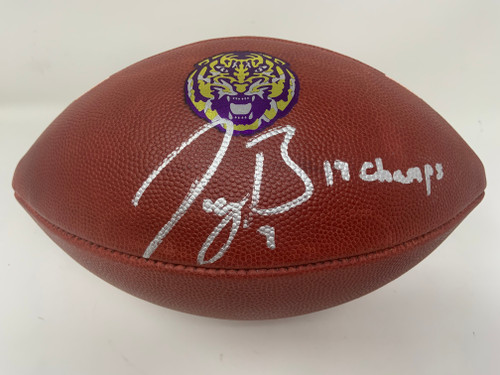 "JOE BURROW Autographed LSU Tigers ""19 Champs"" Nike Game Model Football FANATICS"