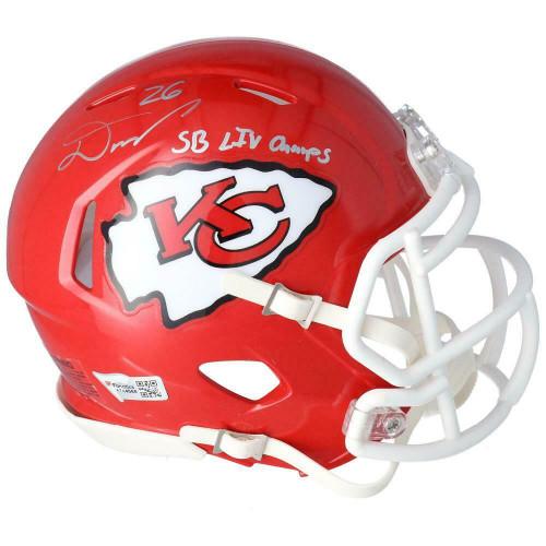 "DAMIEN WILLIAMS Autographed ""SB LIV Champs"" Kansas City Chiefs Mini Speed Helmet FANATICS"
