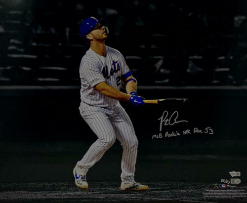 PETE ALONSO Autographed New York Mets MLB HR Rookie Rec 53 16x20 Photograph FANATICS LE 53/53