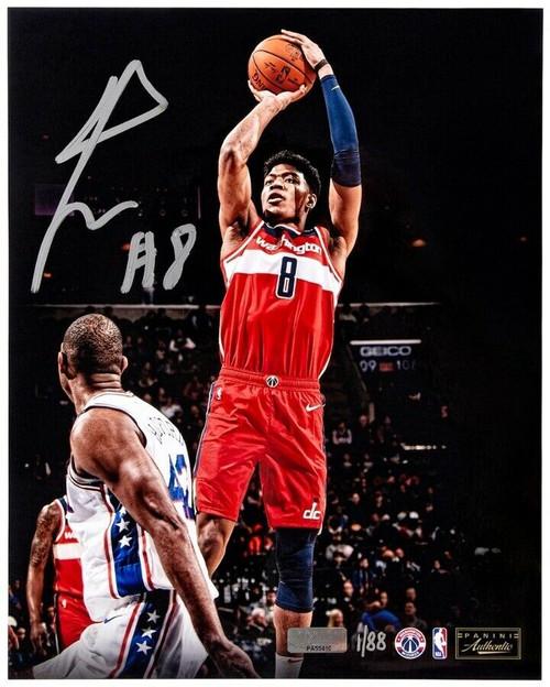 "RUI HACHIMURA Autographed Washington Wizards ""Jumper"" 16"" x 20"" Photograph PANINI LE 88"