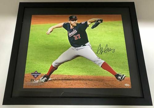"STEPHEN STRASBURG Autographed Washington Nationals World Series 16"" x 20"" Framed Photograph FANATICS"
