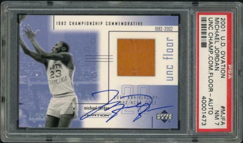 MICHAEL JORDAN Autographed University of North Carolina 01 Ovation Game Used Floor Trading Card PSA/DNA LE 12/23