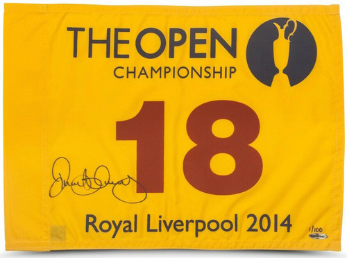 RORY McIlroy Autographed 2014 British Open Flag UDA LE 1/100