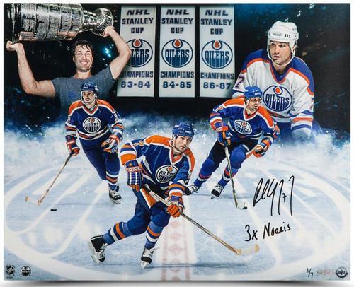 """PAUL COFFEY Autographed Edmonton Oilers """"3x Norris"""" 16 x 20 Photograph UDA LE 1/7"""