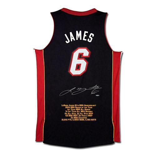 LEBRON JAMES Autographed Miami Heat 10th Anniversary Stat Jersey UDA LE 50