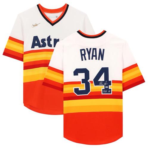 "NOLAN RYAN Autographed Houston Astros ""HOF 99"" Rainbow Nike Jersey FANATICS"
