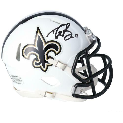 DREW BREES Autographed New Orleans Saints White Matte Mini Helmet FANATICS