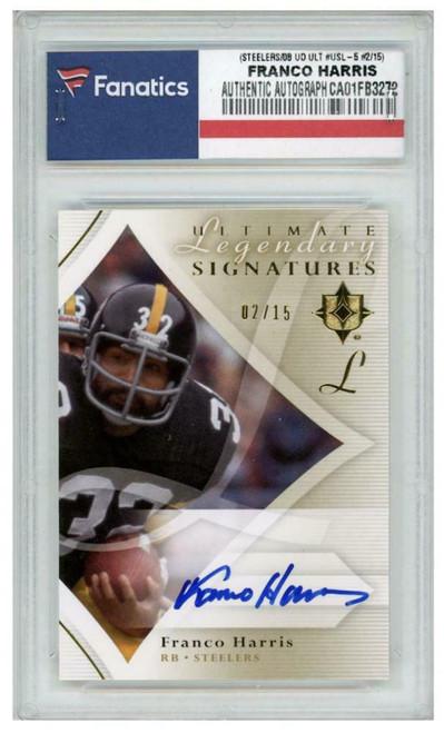 FRANCO HARRIS Autographed Pittsburgh Steelers/08 UD Ultimate Signatures Edition Card FANATICS