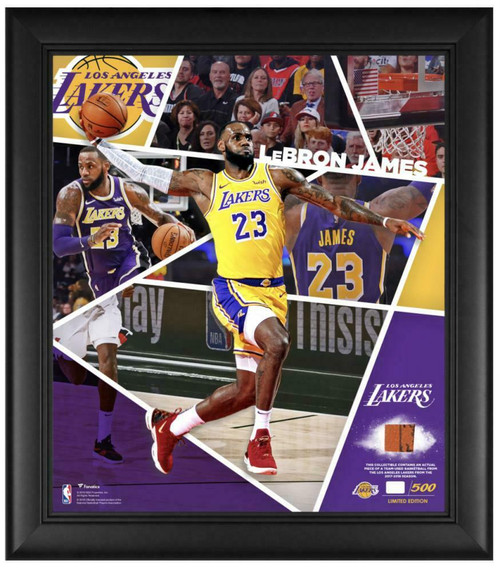 """LEBRON JAMES Los Angeles Lakers Team Used Basketball 15"""" x 17"""" Framed Collage LE 500"""