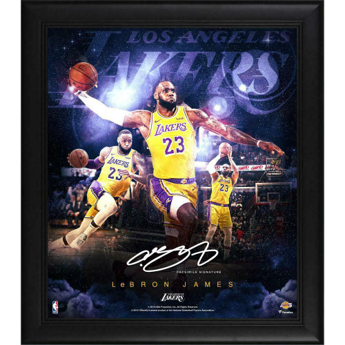 """LEBRON JAMES Facsimile Signature Los Angeles Lakers 15"""" x 17"""" Stars Of The Game Collage"""