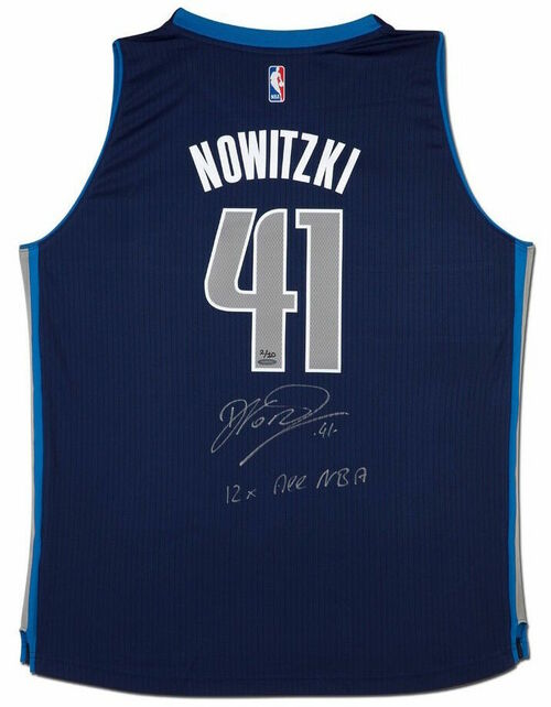 "DIRK NOWITZKI Autographed Dallas Mavericks ""12x All NBA"" Swingman Jersey UDA LE 1/10"