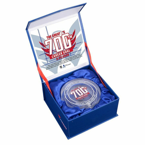 ALEX OVECHKIN 700th Goal Crystal Puck - With Ice from the 2019-20 NHL Season FANATICS