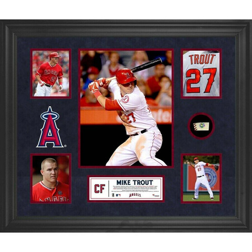 MIKE TROUT Los Angeles Angels Framed Collage w/ Game Used Piece of Baseball
