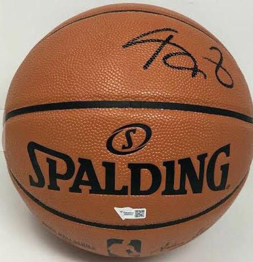 KEVIN GARNETT Autographed (in Black) Minnesota Timberwolves Spalding Basketball FANATICS