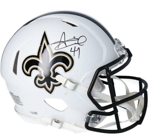 ALVIN KAMARA Autographed New Orleans Saints White Matte Speed Authentic Helmet FANATICS