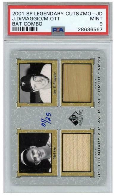 JOE DiMAGGIO & MEL OTT UD Legendary Cuts Gold Bat Relic Card PSA 9 LE 1/25