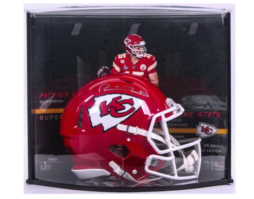 PATRICK MAHOMES Autographed SB Stat Speed Helmet Curve Display FANATICS LE 1/54
