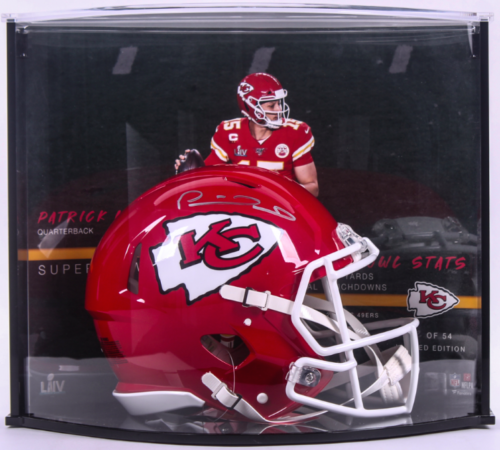 PATRICK MAHOMES Autographed Kansas City Chiefs SB Stat Speed Helmet Curve Display FANATICS LE 15/54