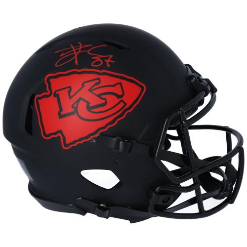 TRAVIS KELCE Autographed Kansas City Chiefs Eclipse Authentic Speed Helmet FANATICS