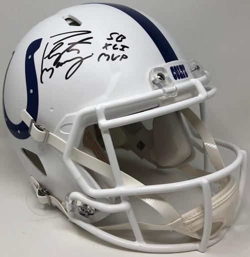 PEYTON MANNING Autographed SB XLI MVP White Matte Indianapolis Colts Helmet FANATICS LE 18