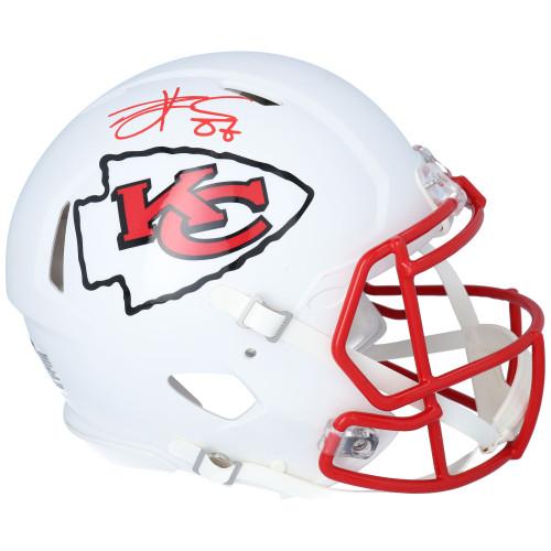 TRAVIS KELCE Autographed Kansas City Chiefs White Matte Authentic Speed Helmet FANATICS