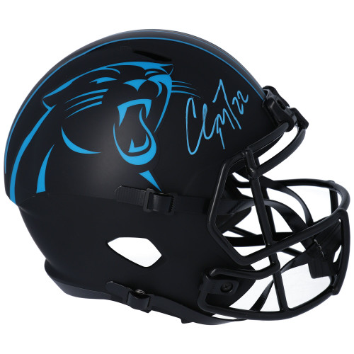 CHRISTIAN McCAFFREY Autographed Carolina Panthers Eclipse Full Size Speed Helmet FANATICS