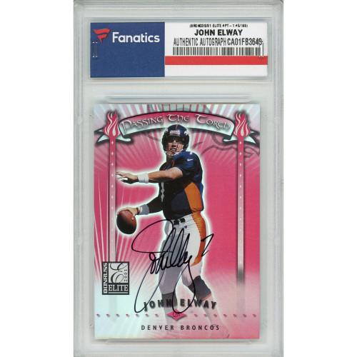 JOHN ELWAY Autographed Denver Broncos Donruss Elite 01 Card FANATICS LE 5/100