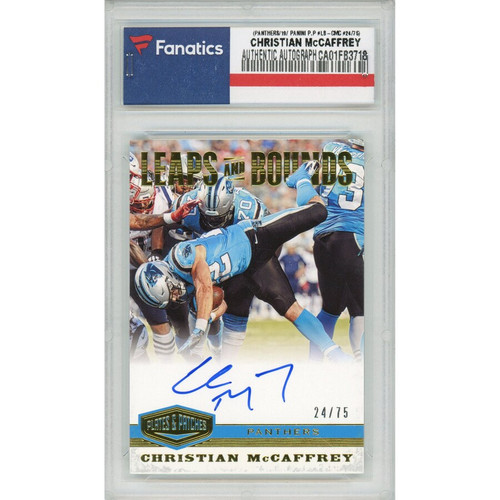 CHRISTIAN McCAFFREY Autographed Carolina Panthers '19 Panini Plates & Patches Card PANINI LE 24/75