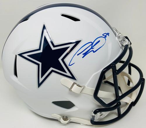 CEEDEE LAMB Autographed Dallas Cowboys White Matte Full Size Speed Helmet FANATICS