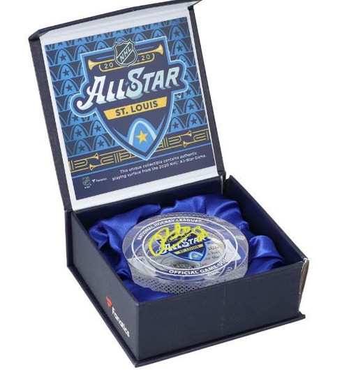 PATRICK KANE Autographed 2020 All Star Game Used Ice Crystal Puck Display FANATICS