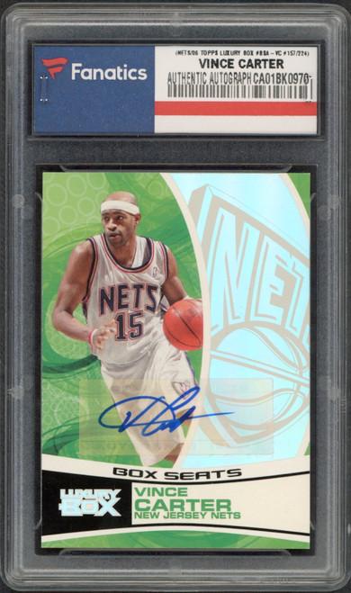 VINCE CARTER Autographed 2006 Brooklyn Nets TOPPS Luxury Box Card FANATICS LE 157/224