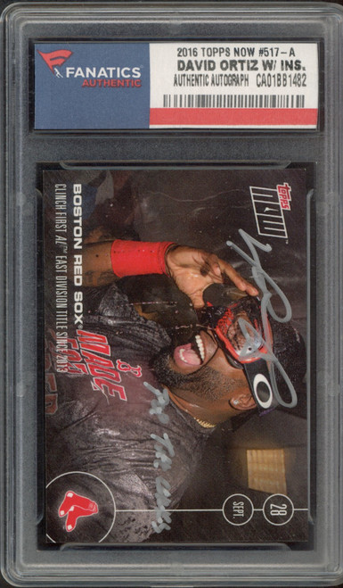 DAVID ORTIZ Autographed Boston Red Sox 2016 TOPPS Now Trading Card FANATICS