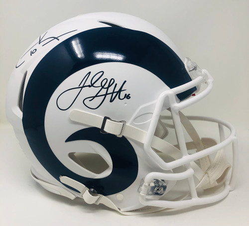 JARED GOFF / COOPER KUPP Autographed Los Angeles Rams White Matte Authentic Helmet FANATICS