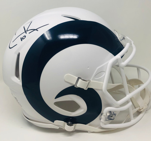 COOPER KUPP Autographed Los Angeles Rams White Matte Speed Authentic Helmet FANATICS
