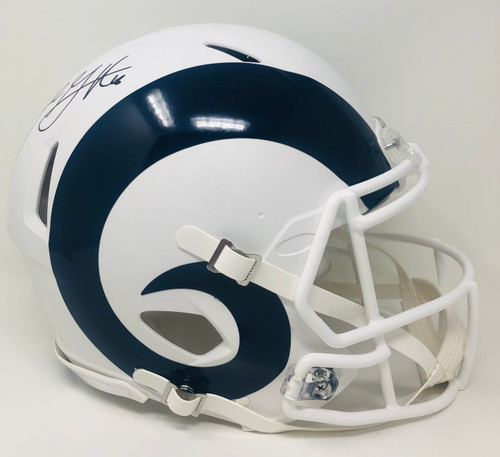 JARED GOFF Autographed Los Angeles Rams White Matte Speed Authentic Helmet FANATICS