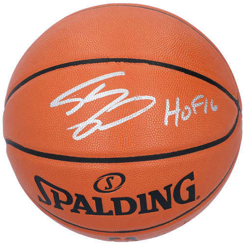 """SHAQUILLE O'NEAL Autographed """"HOF '16"""" Los Angeles Lakers Spalding Basketball FANATICS"""