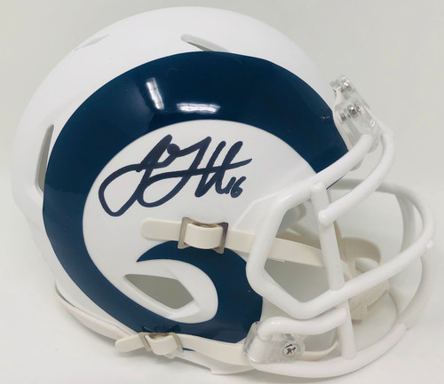 JARED GOFF Autographed Los Angeles Rams White Matte Mini Speed Helmet FANATICS