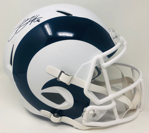 JARED GOFF Autographed Los Angeles Rams White Matte Full Size Speed Helmet FANATICS