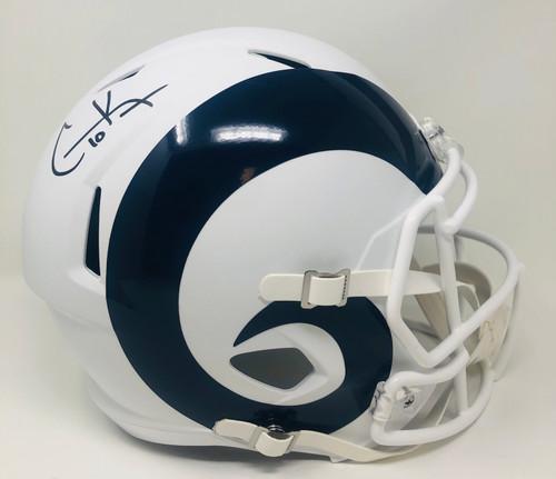 COOPER KUPP Autographed Los Angeles Rams White Matte Speed Full Size Helmet FANATICS