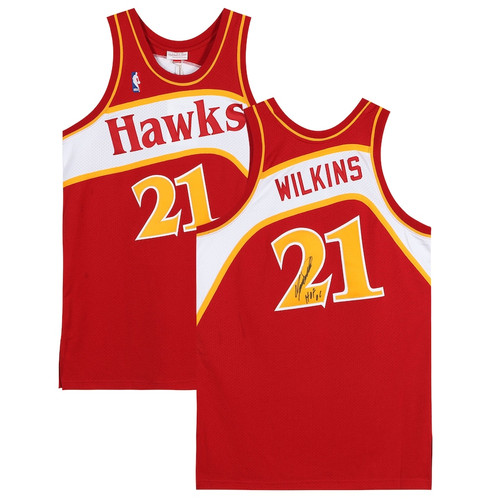 "DOMINIQUE WILKINS Autographed ""HOF 15"" Atlanta Hawks Authentic Jersey FANATICS"