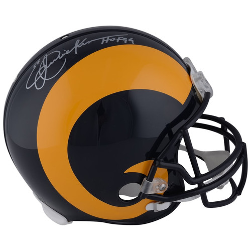 """ERIC DICKERSON Autographed and Inscribed """"HOF 99"""" Los Angeles Rams Speed Authentic Helmet FANATICS"""