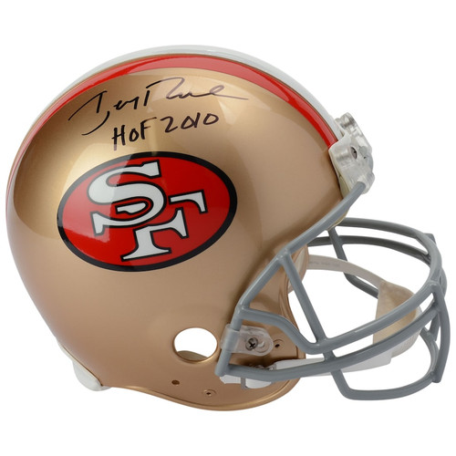 """JERRY RICE Autographed and Inscribed """"HOF 2010"""" San Francisco 49ers Authentic Helmet FANATICS"""