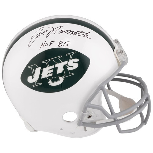 "JOE NAMATH Autographed and Inscribed ""HOF 85"" New York Jets Throwback Helmet FANATICS & STEINER"